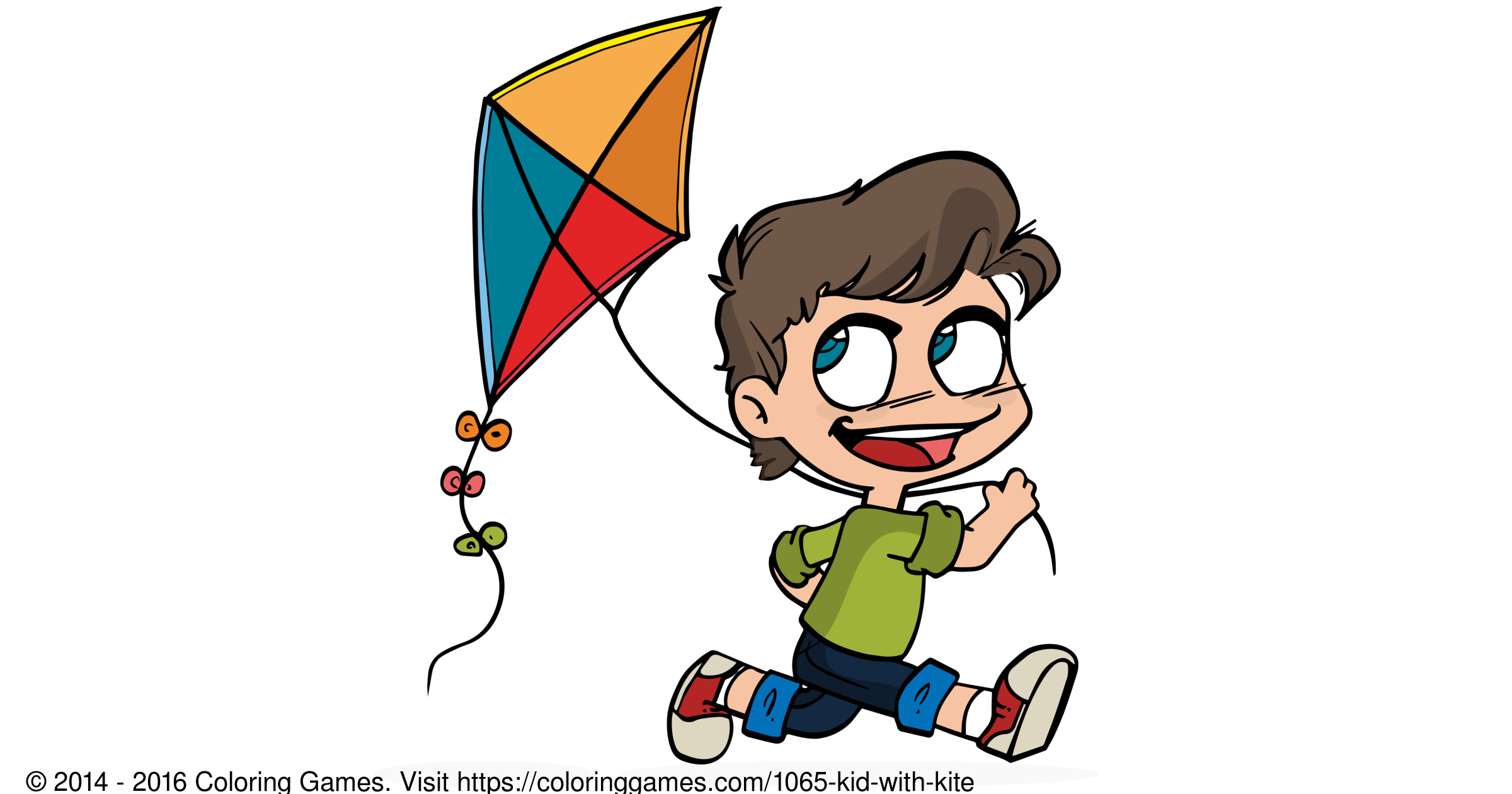 kid with kite coloring games and coloring pages