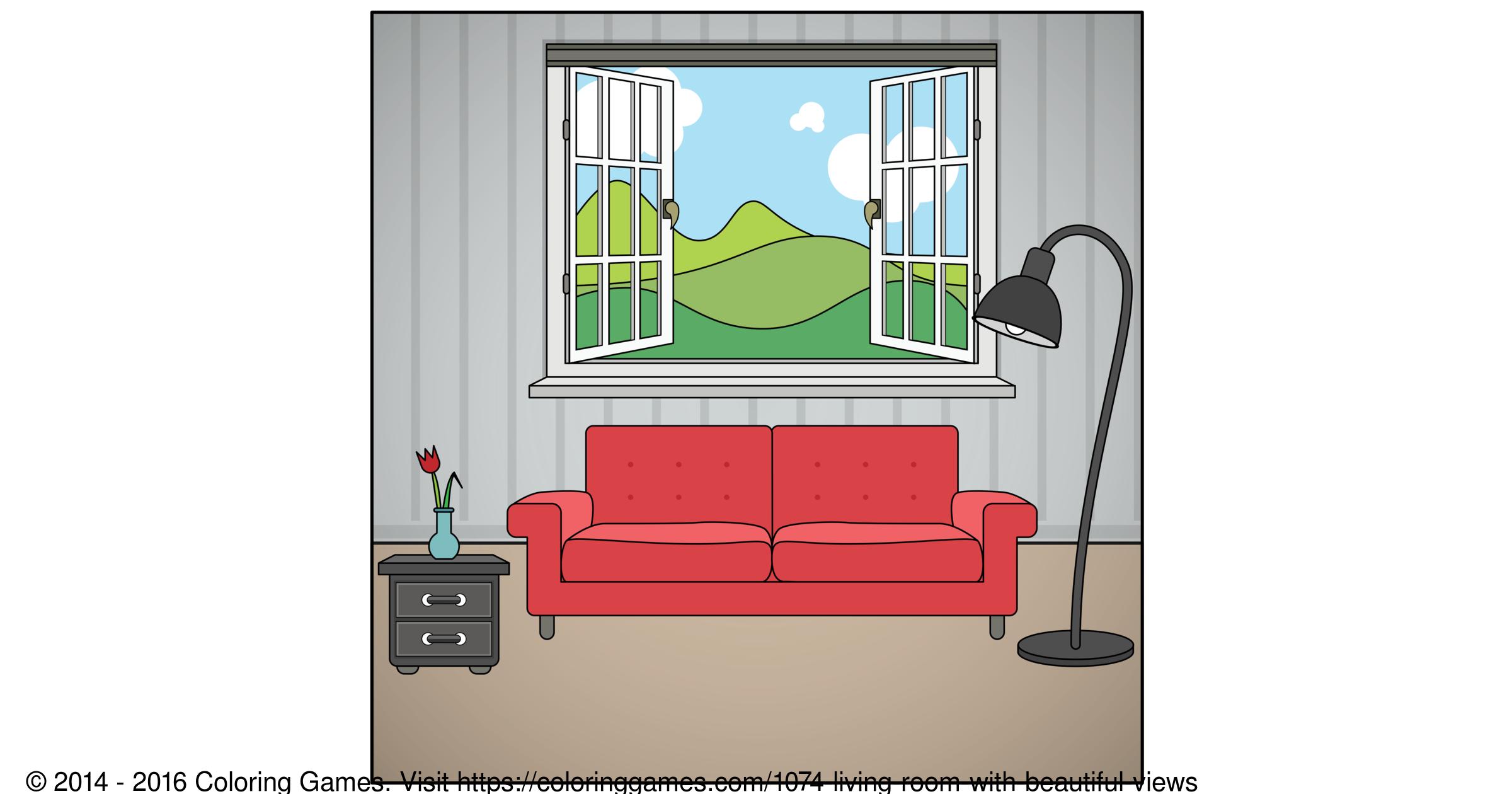Living room coloring page - Living Room Coloring Page 59