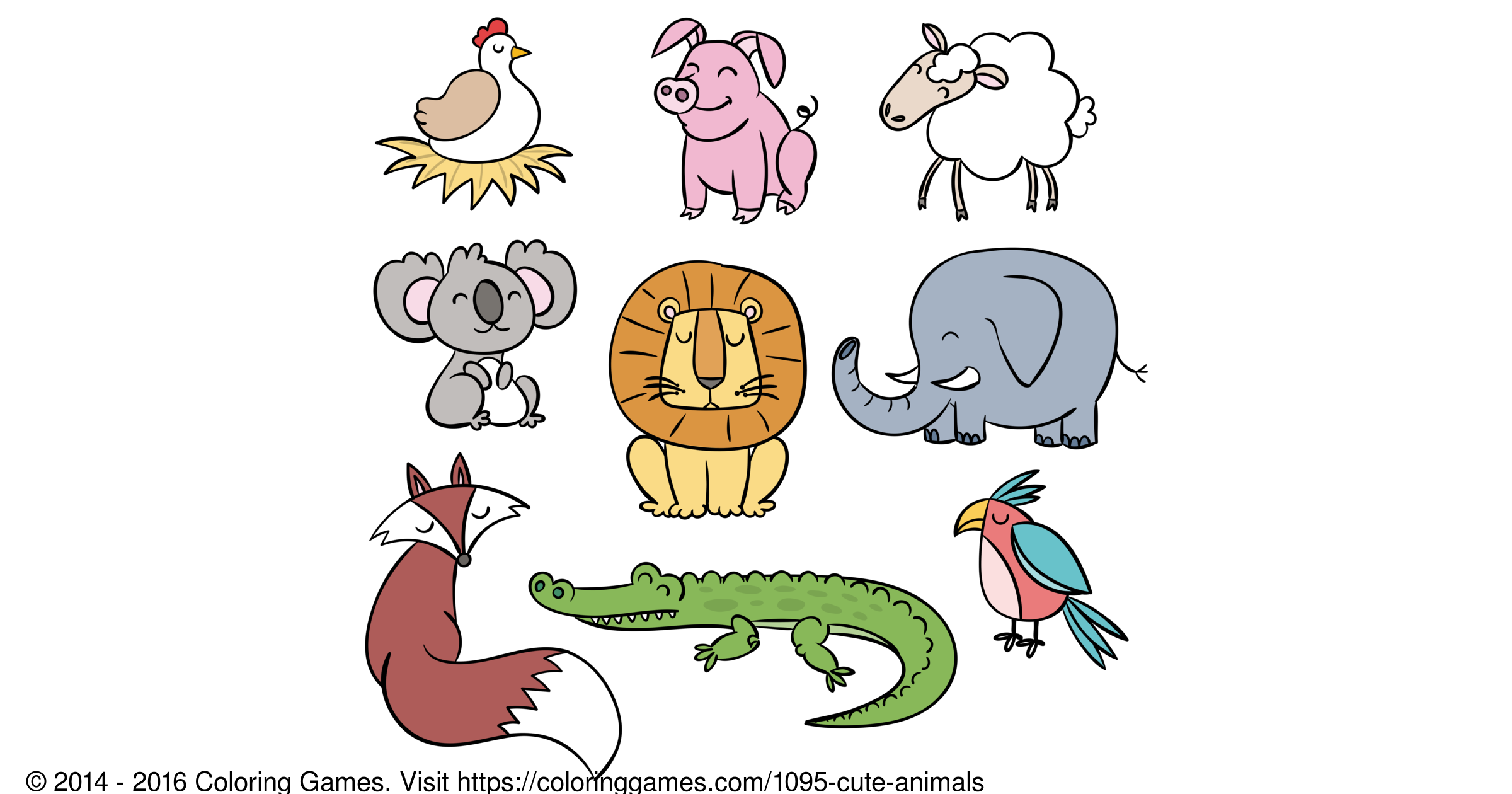 Cute animals - Coloring Games and Coloring Pages