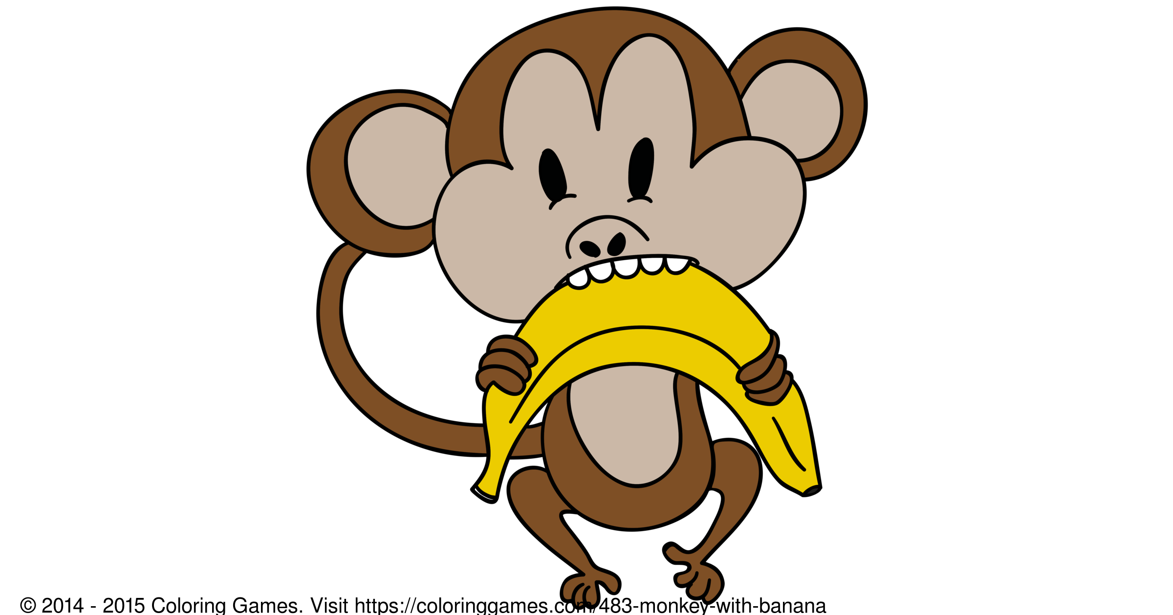 Monkey With Banana Boyama Oyunlari Ve Boyama Sayfalari