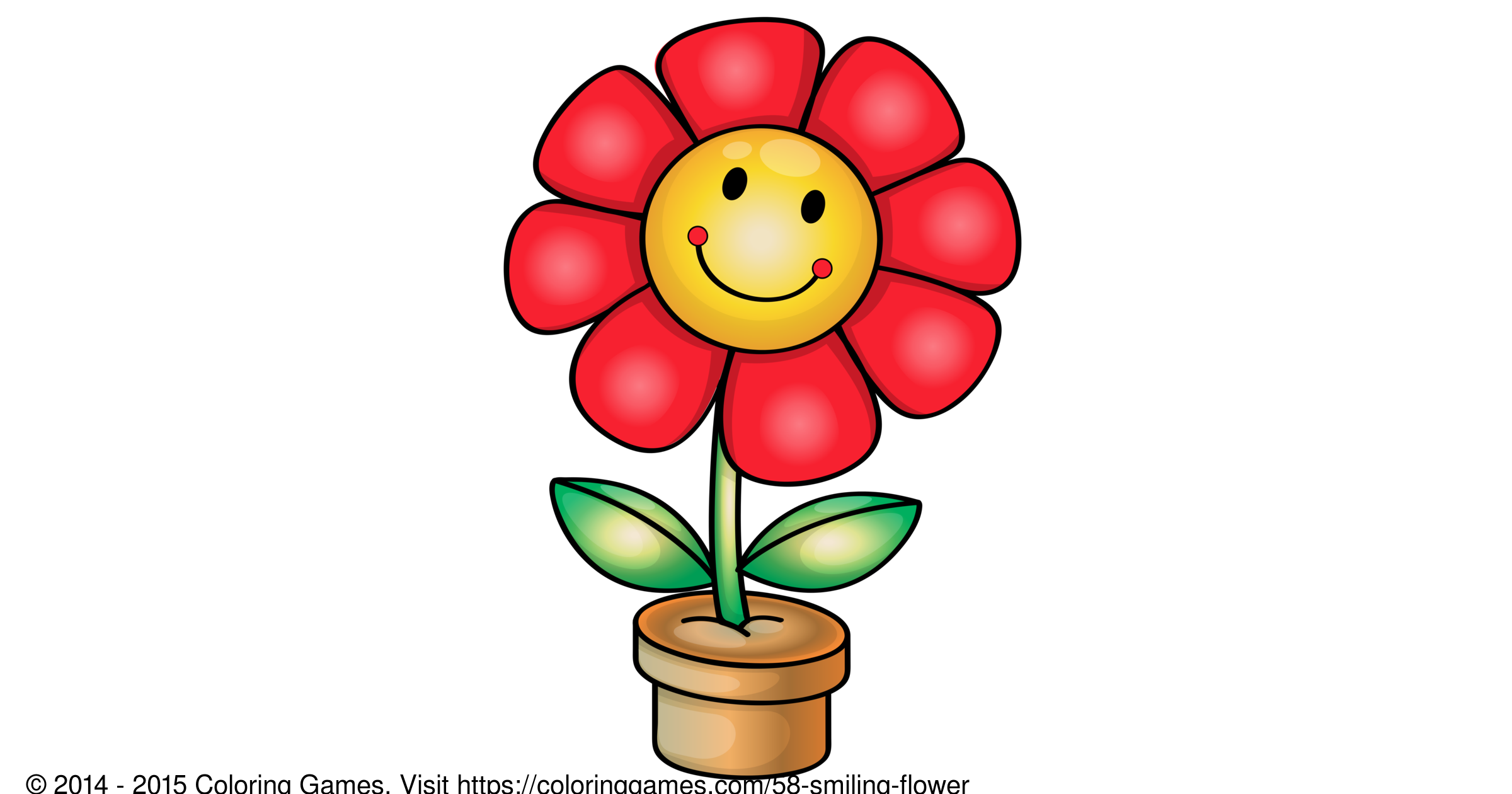Smiling flower - Coloring Games and Coloring Pages