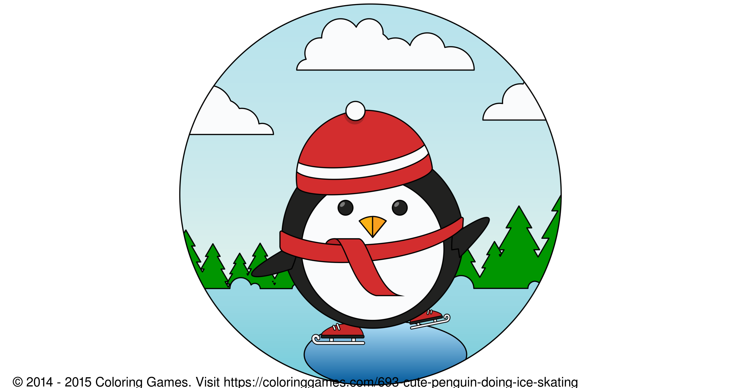 penguins ice skating coloring pages - photo#34