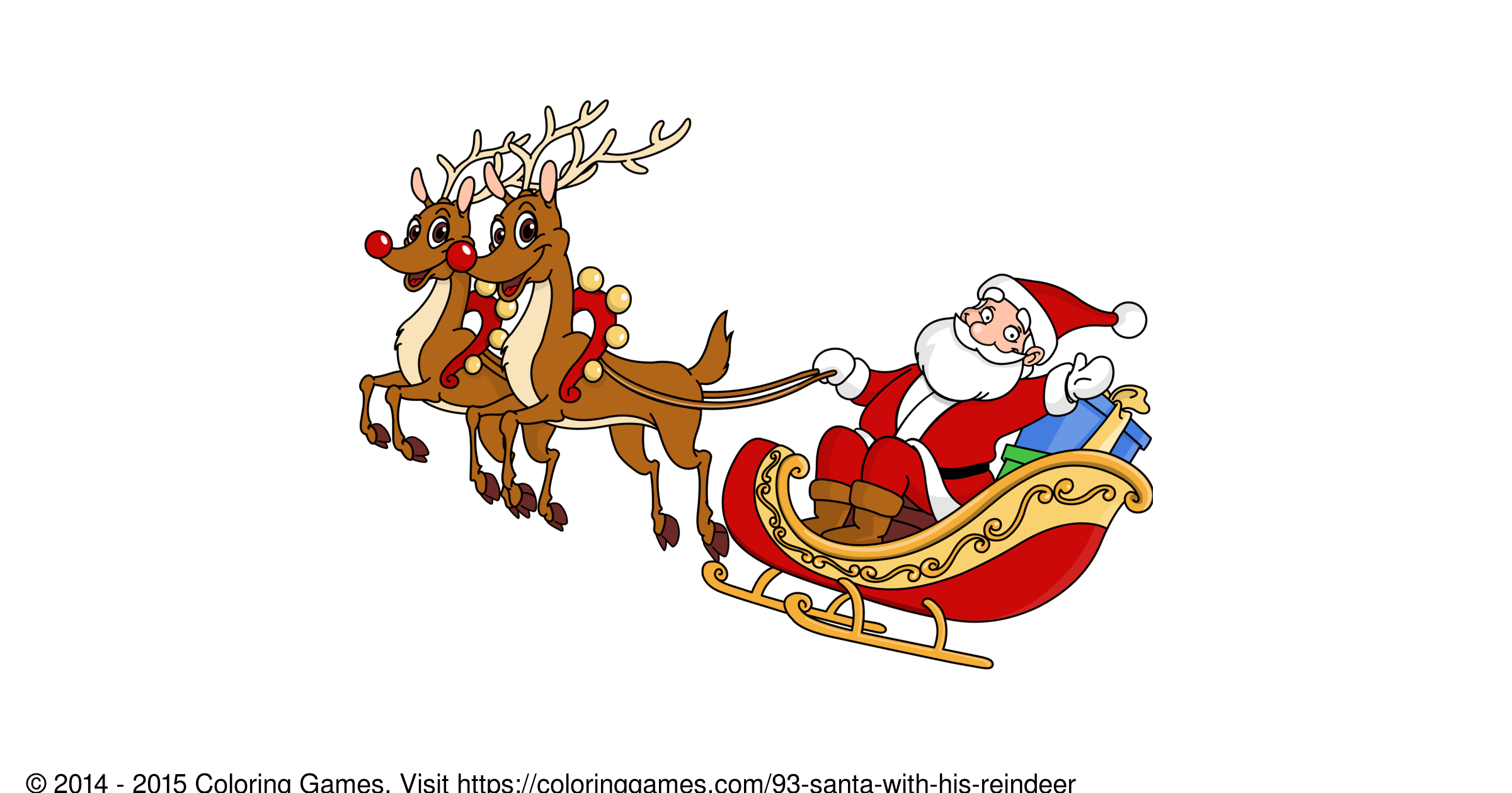 Santa with his reindeer - Coloring Games and Coloring Pages